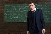 Talented Mathematician. Man Formal Wear Classic Suit Looks Smart, Chalkboard With Equations Backgrou poster