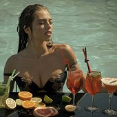 Hot Girl. Drink, Food And Happiness. Summer Vacation And Party. Cocktail And Sexy Girl In Pool. Woma poster