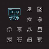 Seo Icons Set. Social Building And Seo Icons With Page Load Speed, Mobile Seo And Tags. Set Of Sale  poster