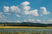 Wide Angle Plowed Fields Near In Southwest France On The Foothill Of The Pyranees - Bliss Wallpaper  poster