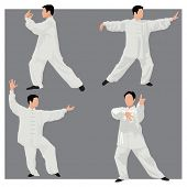 stock photo of tai-chi  - Four forms of Tai - JPG