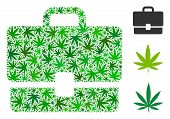 Case Mosaic Of Cannabis Leaves In Various Sizes And Green Tinges. Vector Flat Weed Leaves Are United poster