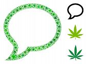 Chat Message Collage Of Weed Leaves In Variable Sizes And Green Hues. Vector Flat Weed Elements Are  poster