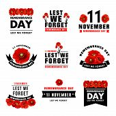 Red Poppy Flower Icon For 11 November Remembrance Day Design. Black Ribbon Banner With Poppy Flower  poster