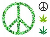 Peace Composition Of Hemp Leaves In Different Sizes And Green Tinges. Vector Flat Hemp Leaves Are Co poster