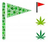 Triangle Flag Mosaic Of Weed Leaves In Different Sizes And Green Variations. Vector Flat Weed Symbol poster