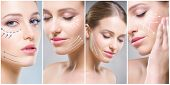 Human face in a collage. Young and healthy woman in plastic surgery, medicine, spa and face lifting  poster