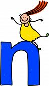 picture of letter n  - little girl climbing over giant letter N  - JPG