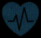 Halftone Cardiology Composition Icon Of Spheric Bubbles In Blue Color Tints On A Black Background. V poster