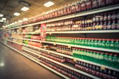 Vintage Blurred Soft Drinks Aisle In American Store poster