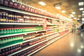 Vintage Blurred Soft Drinks Aisle With Customer Shopping poster