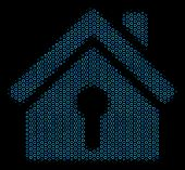Halftone Home Keyhole Composition Icon Of Circle Bubbles In Blue Color Tones On A Black Background.  poster