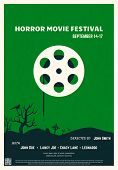 Retro Style Horror Movie Poster. Green Background And Black Trees And Graveyard. Film Festival Poste poster
