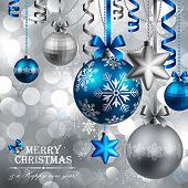 Christmas background with blue and silver baubles. Vector illustration.
