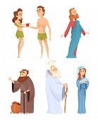 Historical Characters Of Bible. Vector Mascots In Various Poses. Illustration Of Character Bible Eve poster
