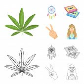 Amulet, Hippie Girl, Freedom Sign, Old Cassette.hippy Set Collection Icons In Cartoon, Outline Style poster