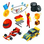 Sport Racing Symbols. Isometric Pictures Of Racing Cars And Formula 1 Symbols. Vector Sport Speed Ra poster