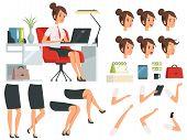 Constructor Of Business Woman. Cartoon Mascot Creation Kit Of Business Woman. Pose Animation And Cre poster