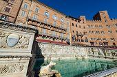 The Fonte Gaia (fountain Of Joy), Monumental Fountain In Piazza Del Campo (campo Square). Siena, Tos poster