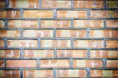 Texture Of Brick Masonry. Walls Of Unusual Spotted Bricks. Beautiful Blank Background With Vignette. poster