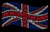 Waving Great Britain State Flag On A Black Background. Vector Diamond Pictograms Are United Into Geo poster