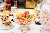 Colorful Lollipops Set With Sweet Marshmallows And Cakes On A Festive Table. Festive Sweet Table For poster