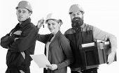 Cheerful Team Of Architects Ready To Work, Isolated White Background. Builders And Engineer Work Tog poster