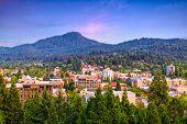 Eugene, Oregon, USA downtown cityscape at dusk. poster