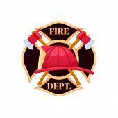 Fire Dept Logo Icon. Plastic Red Fire Helmet With Protective Glass. Helmet Firefighter Service Offic poster