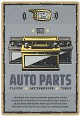 Car Spare Parts Retro Poster For Automobile Shop Or Service Center. Vector Vintage Design Of Car Ala poster