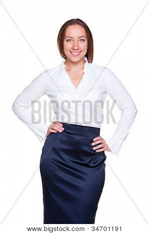 attractive businesswoman posing over white background. studio shot