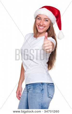 successful young woman ready for christmas and showing thumbs up. isolated on white background