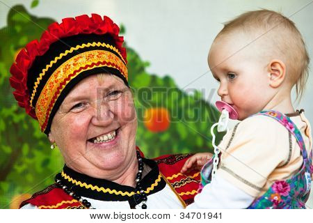 VINNICI, LENINGRAD REGION, RUSSIA - JUNE 10: Unknown kid during celebrate the annual holiday Vepsian national culture