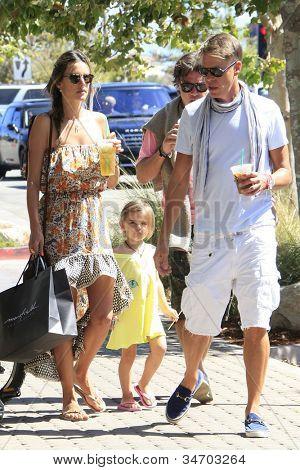 MALIBU - JUL 8: Alessandra Ambrosio, daughter Anja enjoying a walk and some iced tea on a hot day on July 8, 2012 in Malibu, California