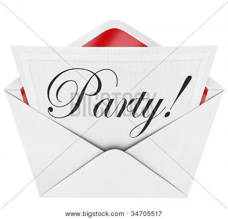 The word Party in script or cursive letters on a linen paper invitation coming out of an opened envelope, inviting you to a special event for a fun time