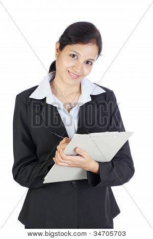 Happy Indian Woman Holding A Clipboard