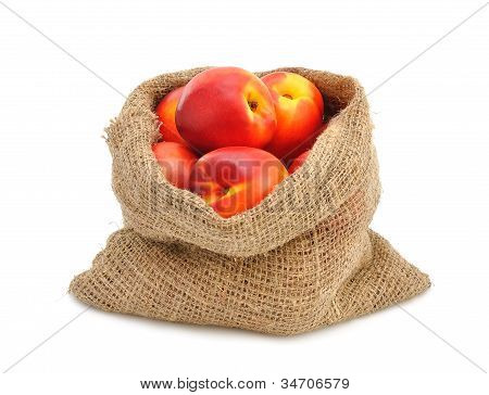 Nectarines in a sack