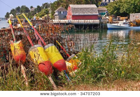 Lobster buoys and traps