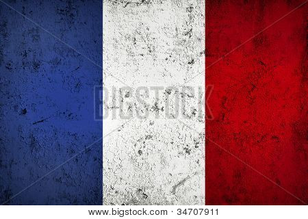 Grunge Dirty And Weathered French Flag