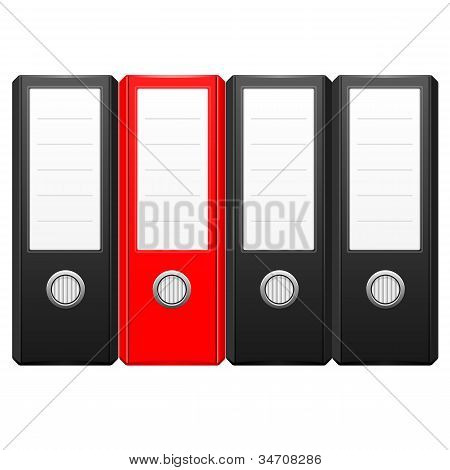 row of black binder folders with one red folder