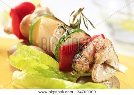 Grilled chicken shish kebab detail