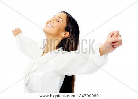 Carefree Woman ist stressfrei und hält ihre Arme für Freiheit und Frieden des Geistes. isoliert am Pfingstmontag