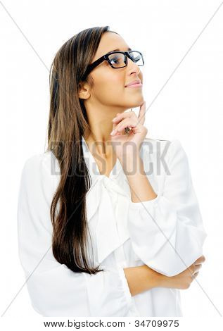 Thinking hispanic businesswoman portrait with glasses isolated on white background