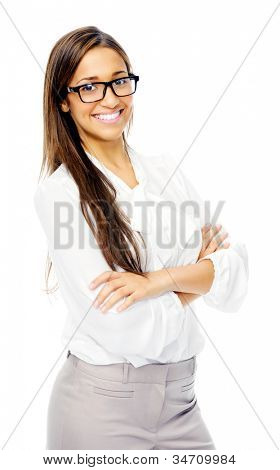 Cute confident businesswoman portrait with glasses. hispanic woman isolated on white background
