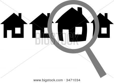 Magnifying Glass To Find Choose Inspect Home Or Website In Row
