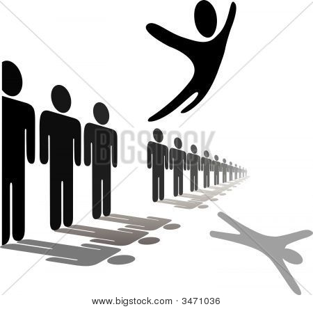 Symbol Person Leaps Out Of Line Soars Above People