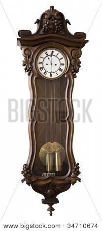 Antique clock hanging on a wall