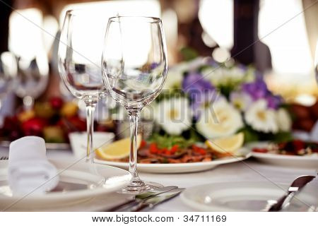 Empty glasses set in restaurant