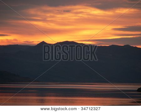 Sunrise behind the mountains