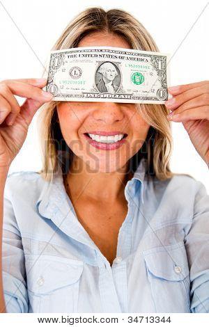 Mujer codiciosa cegada por el dinero - aislado sobre un fondo blanco